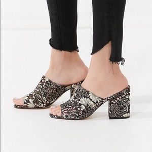 Urban Outfitters Floral Jacquard Mule Heels